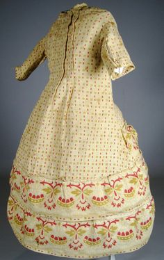 Amazing Early Antique Cotton China, Papier-Mache or Fashion Doll Dress, Unique Pattern, Small Print