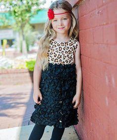 Loving this RuffleButts Black & Leopard Print Ruffle Dress - Infant on #zulily! #zulilyfinds