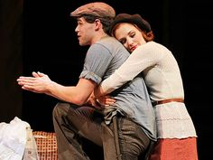 Photo of Jeremy Jordan as Clyde Barrow and Laura Osnes as Bonnie Parker in Bonnie & Clyde. Bonnie And Clyde Musical, Bonnie And Clyde Photos, Bonnie Clyde, Theatre Nerds, Music Theater, Laura Osnes, Broadway Costumes, Bonnie Parker, Star Wars