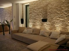 Wohnzimmer mit Steinwand mit Beleuchtung: Living room with stone wall with lighting: Living Room Tv, Home And Living, Stone Wall Living Room, Living Area, Room Interior, Home Interior Design, Living Room Designs, New Homes, House Styles