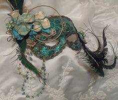 Masquerade Ball Mask, Elegant Mardi Gras Mask, Turquoise n Peacock Feathers, Vintage Bejeweled, OOAK by Marelle.