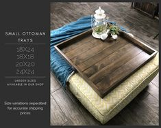 Updates from TwoMooseDesign on Etsy Storage Ottoman Coffee Table, Square Storage Ottoman, Ottoman Table, Large Wooden Tray, Wooden Serving Trays, Round Wood Coffee Table, Coffee Table Tray, Diy Home Furniture, Living Room