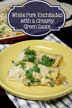 Are you celebrating Cinco de May this year? Be sure to make these amazing White Pork Enchiladas with a Creamy Green Sauce. Entree Recipes, Pork Recipes, Mexican Food Recipes, Chicken Recipes, Dinner Recipes, Ethnic Recipes, Easy Recipes, Mexican Meals, Potluck Recipes