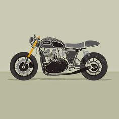 Moto Art - Cool illustration of a custom Triumph cafe racer