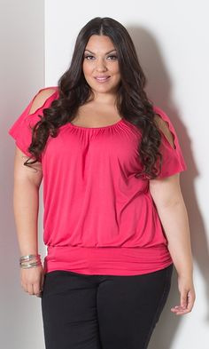 Renee Cold Shoulder Top in Hot Coral at Curvalicious Clothes www.curvaliciousclothes.com TAKE 15% OFF Use code: TAKE15 at checkout