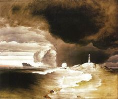 Peder Balke, Fyrtårn på den Norske Kyst (Lighthouse on the Norwegian Coast, ca. Google Art Project, Water Art, Light Painting, Art Google, Art World, Painting Prints, Painting Art, Art Print, Les Oeuvres