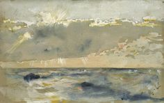 Carl Larsson (Swedish), Cloud Bank Over a Choppy Sea, watercolor, body color & pencil on paper, c.1882-8