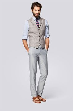 Top half w/jeans and dress shoes - I don't know what's going on with the sandals.