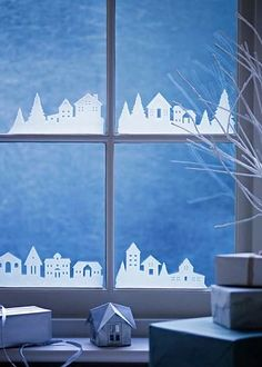 Christmas village silhouette for windows. Simple Christmas Decorations For Your Windows | Apartment Therapy