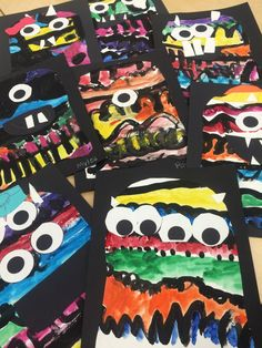 Kindergarten Line Monsters - what a fun, NOT scary Halloween project or art activity!