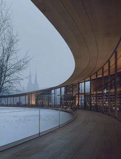 Kengo Kuma designs timber library dedicated to playwright Henrik Ibsen. Kengo Kuma, Yokohama, Illinois, Cabinet D Architecture, Urban Fabric, Urban Park, Tourist Information, Library Design, Design Competitions