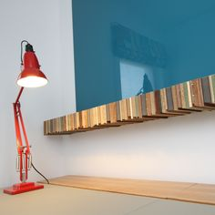 Bespoke Milo floating shelf made from recycled waste wood offcuts.  Designed by Tristan Titeux