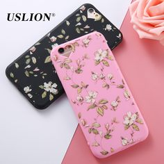 e5146805e5f88 USLION For iPhone 6 6s Plus Phone Case Love Heart Retro Flower Green Leaves Soft  TPU Phone Back Cover Cases for iphone 6-in Fitted Cases from Cellphones ...