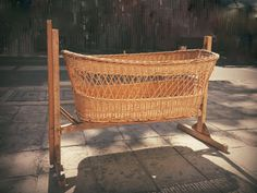 Antique Wicker Baby Cradle Vintage Wood Crib by TheLightFantastiK