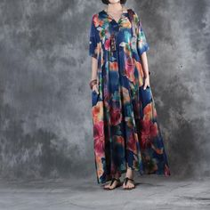 Chinese Buttons Hibiscus Prints Vintage Dress Customized Plus Size Maxi Dress    #blue #plussize #customized #designer #vintage #hibiscus #fashion #style #over50 #elderly