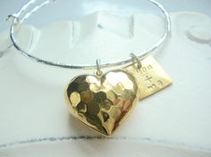 Tough Love Hammered Heart with You and Me Charm Gold Plate and Silver Plate Bangle Bracelet by bellabeadstudio on Etsy