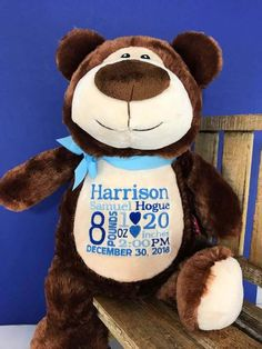8975976e875 Personalized Baby Boy Gift. Teddy Bear with Birth Announcement. Personalized  Baby Stats Custom Stuffed Animal Wildlife Theme Woodland Animal