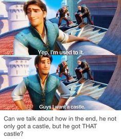 Eugene dreamed for a castle. He met Rapunzel. Rapunzel became a queen. Rapunzel became Eugene's new dream.