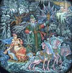 """Сказка """"Морозко"""" http://russkaja-skazka.ru/morozko/ Поехал старик в лес, доезжает до того места, — Под большою елью сидит его дочь, веселая, румяная, в собольей шубе, вся в золоте, в серебре, и около — короб с богатыми подарками...  #сказки #картинки   #art #Russia #Россия #добро #дети  #иллюстрации #paint #картины #художник  #RussianFairyTales @russkajaskazka"""