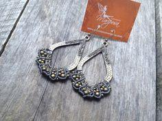 Micro macramé earrings in medium gray boho by creationsmariposa, $30.00