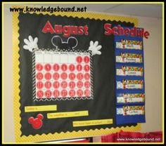 Disney calendar corner and daily schedule