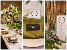 Wedding Table Decorations Four Seasons Austin Green Wedding Candles Menu Plate Setting Dinner Wedding Reception Dinner Green Flowers Floral Arrangements | Pearl Events Austin | Jake Holt Photographer | Four Seasons Austin