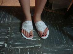 Sandalias tejidas a crochet con patrones - Imagui