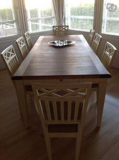 Lundbergs möbler Wilma ruokapöytä + 8 tuolia