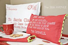 to Santa Pillows Vinyl Stenciled Letter to Santa Pillow. Vinyl Stenciled Letter to Santa Pillow. Christmas Decorations To Make, Diy Christmas Gifts, Simple Christmas, All Things Christmas, Winter Christmas, Holiday Crafts, Christmas Holidays, Grinch Christmas, Christmas Ideas