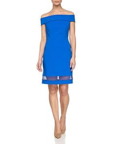 Off-the-Shoulder+Sheath+Dress,+Bright+Cobalt++by+Halston+Heritage+at+Neiman+Marcus.