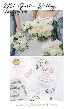 This romantic wedding invitation features lovely flowers and leaves, cursive lettering, and wispy accents for a feminine and sweet look. #weddingideas#weddinginvitations#stylishwedd #stylishweddinvitations #weddingstationery#2021wedding