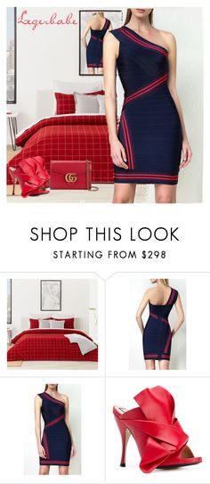 """L-B Kayla Jacquard Stripe Detail Dress"" by aida-ida ❤ liked on Polyvore featuring Lacoste, N°21 and Gucci"