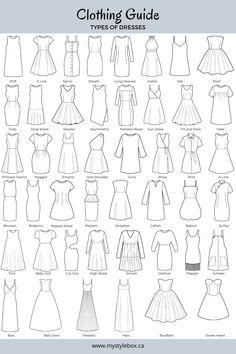 Dress Design Drawing, Dress Design Sketches, Fashion Design Drawings, Clothes Design Drawing, Dress Drawing, Fashion Terminology, Fashion Terms, Fashion Illustration Sketches, Fashion Sketches