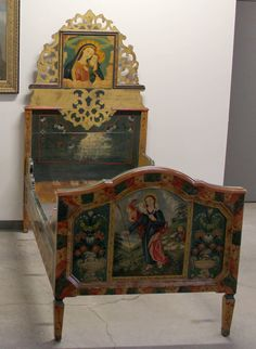 Pair of Swiss Alpine Folk Painted Twin Beds | Spinario Design $4,800.  wow.