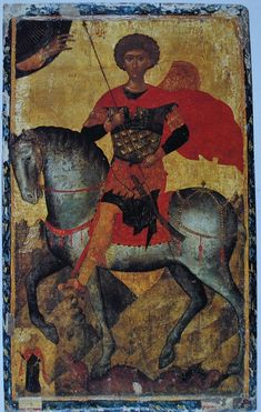 IKONS: St George and the Dragon. Fifteenth-century, Cretan School (probably the work of Angelos Bizamanos), The State Hermitage Museum, St. Byzantine Icons, Byzantine Art, Patron Saint Of England, Saint George And The Dragon, Lives Of The Saints, Roman Gods, Russian Icons, Hermitage Museum, Aliens And Ufos