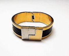 Signed LOEWE Hinged Bracelet - Monogram - Inset Black Leather - Vintage Retro Modern 1980s 1990s Wide Clamper Made in Spain by Loewe #jewelry #vintage #fashion #etsyretwt #etsymntt #jewellery #etsyseller #etsy #bestofetsy