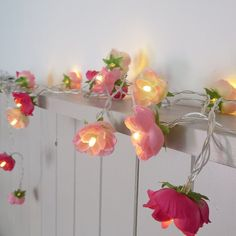 NEW Pretty in Pink Fairy Lights, Rambling Roses String Lights in Patisserie Pink, Blush and Hot Pink, Garland Flower Lights   A decorative string of 20 mixed rambling roses with warm white LED lights. The fairy lights are powered by battery which means they are very versatile - use to decorate a table (birthday, baby shower, dinner parties or your craft fair table!) or around your home. Many of my customers use them to add a pretty, romantic accent around their dressing tables and beds  The…
