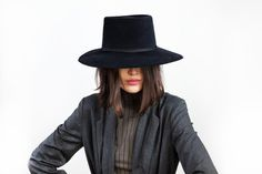 Clyde Wide Brim Gaucho Hat with drawstring in Black Angora