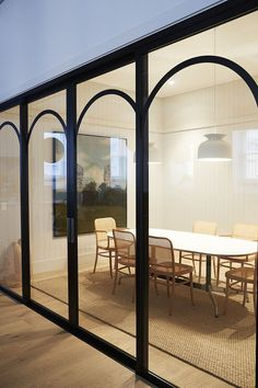 Self Care Glass Partition Door Design House Design Commercial Interior Design, Interior Design Studio, Commercial Interiors, Architecture Restaurant, Interior Architecture, Arched Doors, Windows And Doors, Arch Windows, Sliding Doors