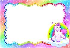 Fiestas Personalizadas Imprimibles: Tarjetas de invitacion de unicornio. Descarga Gratis Unicorn Birthday Invitations, Party Invitations Kids, Unicorn Birthday Parties, Unicorn Party, Invites, Personalized School Supplies, Polka Dot Classroom, Unicorn Printables, School Labels
