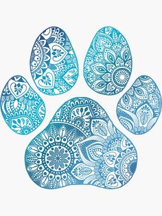'Mandala paw print ' Sticker by NicoleHarvey - paper crafts - Populer Tattoo Pin Share Art Painting, Paw Print Art, Mandala Tattoo, Drawings, Doodle Art, Mandala, Mandala Design Art, Art, Paw Print Stickers