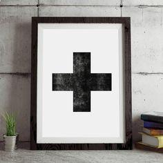 Swiss Cross black Scandinavian art http://www.notonthehighstreet.com/themotivatedtype/product/swiss-cross-black-and-white-scandinavian-art-print @notonthehighst #notonthehighstreet