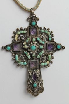 Turquoise Soul  . . .   MEXICO/ MATL STYLE STERLING, TURQUOISE AND AMETHYST CROSS