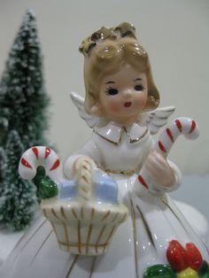 Josef Originals Girl ANGEL VINTAGE CHRISTMAS GIFT CANDY CANE