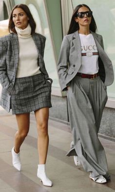 Gray trousers and skirt