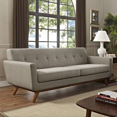 Modway Engage Mid-Century Modern Upholstered Fabric Sofa In Granite Sofa And Loveseat Set, Sofa Upholstery, Upholstered Sofa, Fabric Sofa, Sofa Furniture, Modern Furniture, Fine Furniture, Furniture Design, Best Sofa