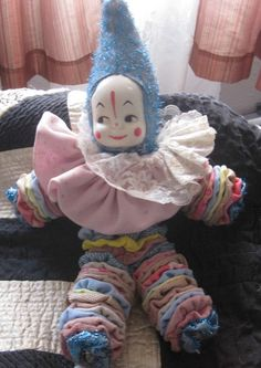 1950's Jester Clown Handmade Fabric Circles Yo Yo Doll Celluloid Baby Face