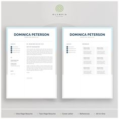 Make your resume, cover letter and references look fantastic and consistent with a modern, creative and professional resume template pack. Creative Cv Template, One Page Resume Template, Modern Resume Template, Professional Cover Letter Template, Cover Letter For Resume, Olympia, Resume References, Microsoft Word 2007, Job Resume