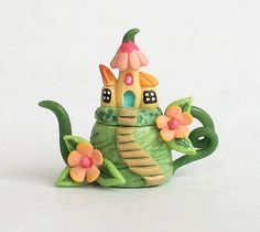 Miniature Fairy Houses on Hill Teapot by artist C. Rohal