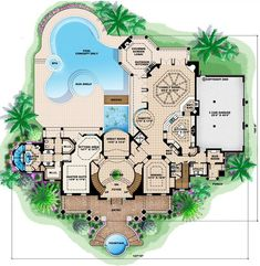 Main Floor of Southern Style House Plan - 5 Beds 6 Baths 9992 Sq/Ft Plan #27-534